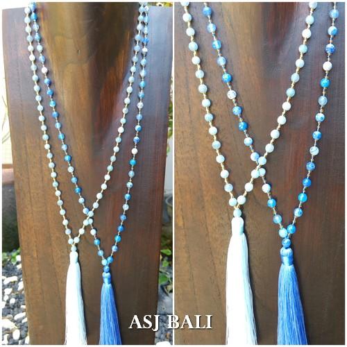 agate full beads handmade design necklace tassels pendant 2color