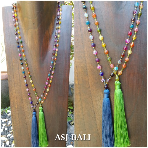 agate full stone bead mix color necklace tassels pendant fashion accessories