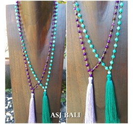 balinese agate beads stone necklace tassel pendant women style 2color