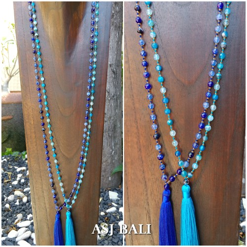 full agate stone beads tassels necklaces blue turquoise color