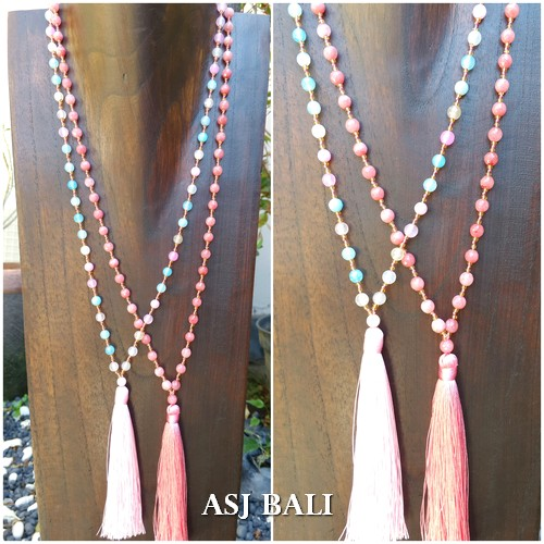 full handmade agate stone beads tassels necklaces 2color women fashion