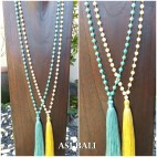 pendant tassels necklaces with agate stone beads handmade jewelry design