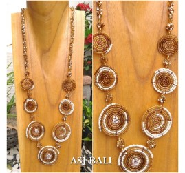 full beads necklaces circle mate ornament fashion gold white color