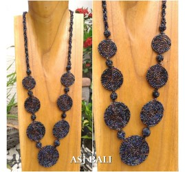 full beads necklaces circle plate ornament fashion accessories shine black