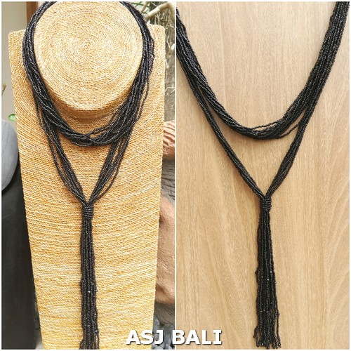 multiple seeds necklaces beads long strand fashion black color