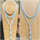 multiple seeds necklaces beads long strand fashion blue sky color