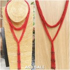 multiple seeds necklaces beads long strand fashion red color