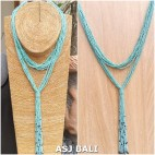 multiple seeds necklaces beads long strand fashion turquoise color