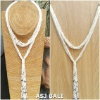 multiple seeds necklaces beads long strand fashion white color