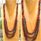 multiple strand seeds beads necklaces black mix shiny color