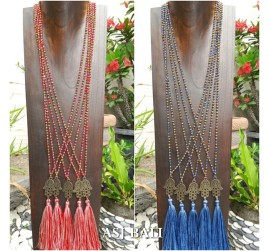 2color hamsa buda crystal beads long layer necklaces pendant tassels