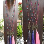 3color tassels necklace pendant hamsa prayer budha handmade design