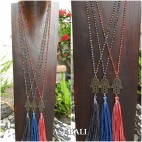 3color tassels necklace pendant hamsa prayer budha handmade style