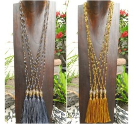 bali budha head handmade bronze tassels necklace pendant bead