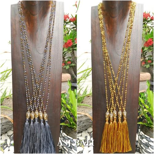 bali budha head handmade bronze tassels necklace pendant bead