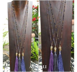 bali budha head pendant necklace tassels 3color beads crystal design