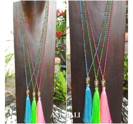 bali budha head pendant necklace tassels 3color beads crystal color