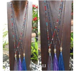 bali budha head pendant necklace tassels 3color beads crystal fashion