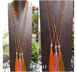bali budha head pendant necklace tassels 3color beads crystal handmade
