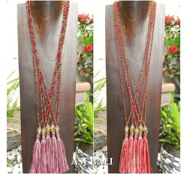 bali budha head prayer pendant tassels necklace bead handmade