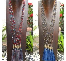 bali budha heads bronze tassels necklaces pendant crystal bead