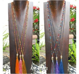 bali budha head mix color tassels necklaces crystal beads fashion