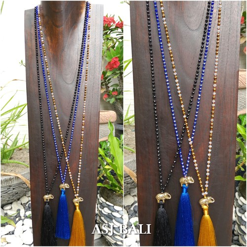 bronze elephant pendant tassels necklaces bali beads thailand design
