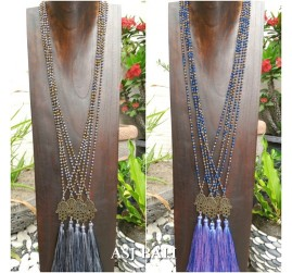 crystal beads single layer hamsa hand necklaces tassels pendant