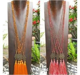hamsa budha tassels necklaces pendant beads crystal 2color