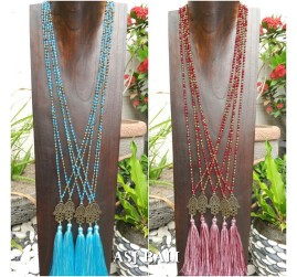 hamsa budha prayer pendant tassels necklaces beads crystal 2color