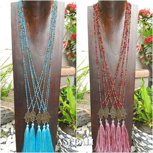 hamsa budha prayer pendant tassels necklaces beads crystal 2color