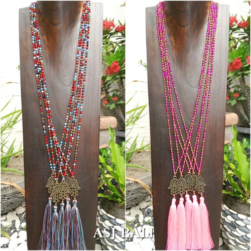 hamsa budha prayer tassels necklaces pendant bead crystal fashion 2color