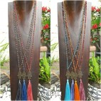mix color tassels necklace pendant hamsa bronze budha design