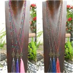 mix color tassels necklace pendant hamsa prayer budha handmade