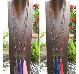 mix color tassels necklace pendant hamsa prayer budha handmade