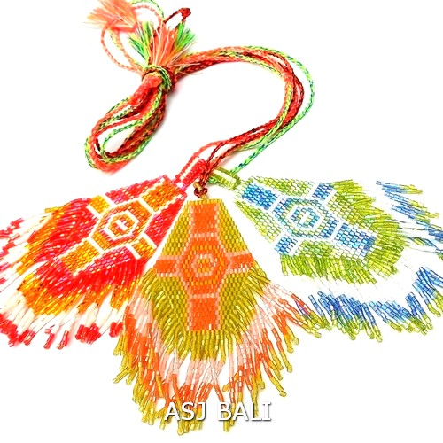 3color necklaces pendant cross style miyuki beads bali