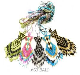 5color fashion necklace balinese miyuki crystal bead pendant