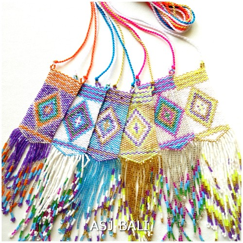 6color mix necklaces beads miyuki tassels fashion accessories