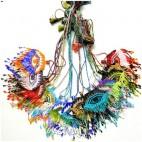 mix multiple color bead necklace evil eyes pendant nylon string