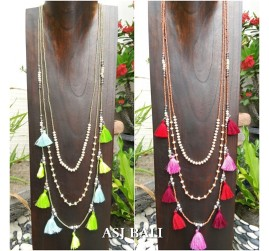 2color multiple tassels necklaces triangle layers beads fashion accessories