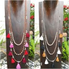 2color multiple tassels necklaces triangle layers strand beads fashion accessories