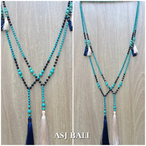2color necklaces tassels pendant with bali stone bead turquoise