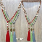 agate beads with rudraksha wood strand fashion tassels necklace pendant