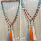 agate stone beads mix turquoise rudraksha fashion necklaces tassels