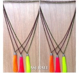 bali bead necklaces tassels pendant chrome caps silver 3color