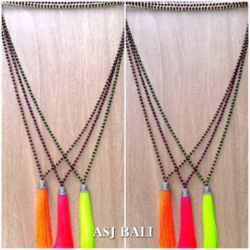 bali bead necklaces tassels pendant chrome caps silver 3color