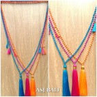 bali beads tassels pendant necklace mono strand fashion 3color