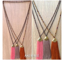 bal fashion necklaces beads crystal tassels golden caps 3 color