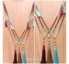 bali fashion tassels necklaces mix beading elegant design 3color
