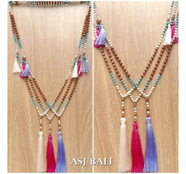 bali fashion tassels necklaces mix beads elegant design 3color